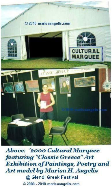 "Marisa Angelis at the Artists' Art Exhibition ""Classic Greece"" by Marisa H. Angelis, which featured, Greek/ Hellenic themes in Paintings, Poetry and a model of an ancient Grecian vessel ""Eudia"" 1994, 'prosperous journey'.  The Art exhibition covered ancient Greece and through to the millennium - At Glendi Greek Cultural Festival, Adelaide South Australia 2000 - Marisa Angelis holds four Australian nominations   © MarisaAngelis  www.marisaangelis.com"