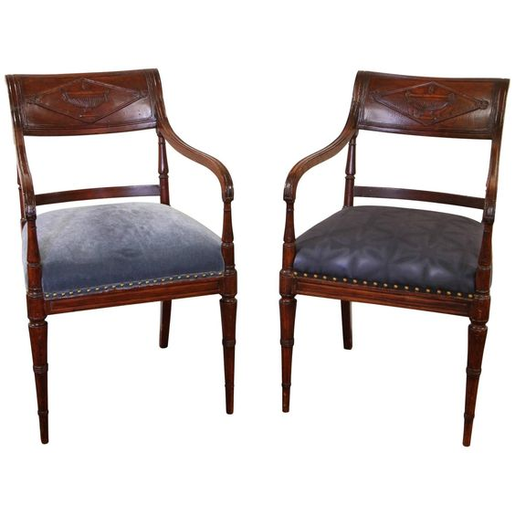 Fine Pair of Regency Style Armchairs | From a unique collection of antique and modern armchairs at https://www.1stdibs.com/furniture/seating/armchairs/