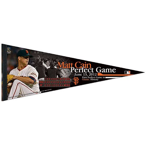 "San Francisco Giants Matt Cain ""Perfect Game""  12x30 Pennant - MLB.com Shop"