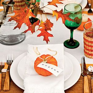 orange and green- love the pumpkin place cards!