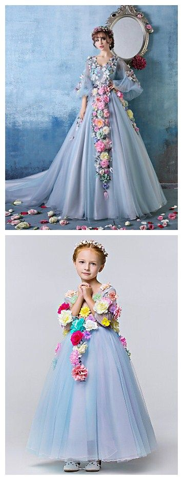 Sky Blue Petite Ball dress with gorgeous flower patterns! What a look for mom & daughter for a special occasion wear!