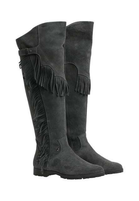 Feines Rauleder bildet die Basis dieser bequemen Stiefel, mit denen Sie dank des Fransenbesatzes echte Hingucker-Looks ohne modisches Verfallsdatum kreieren.-grau von DANIEL HECHTER bei OUTLETCITY.COM bestellen.