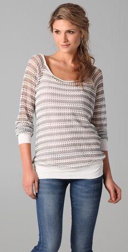Ella Moss Harbor Mesh Striped Pullover - StyleSays