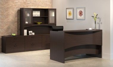 """Desks feature durable 1"""" thick surfaces and distinctive arched modesty panels create a unique look that sets it apart from the competition.  Desks, credenzas and bridges are universal left or right handed for easy reconfiguration.  Desks and credenzas support optional Box-File Suspended pedestals or Mobile full height Box-Box-File and File-File pedestals"""