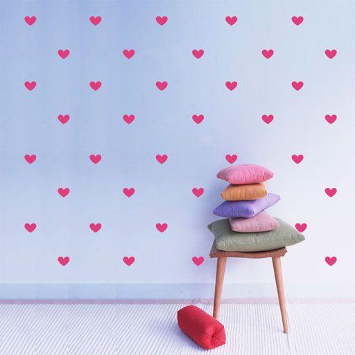 Vinilo decorativo b sico de corazones formado por 77 for Precio vinilo pared