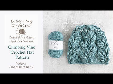 Climbing Vine Crochet Hat Pattern Part 2 Youtube Crochet Hat Pattern Crochet Hats Beanie Hat Crochet Pattern