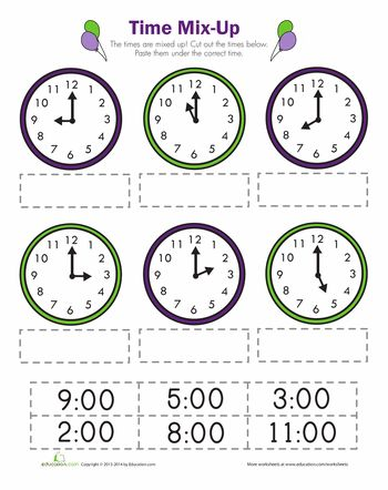 Show the Time! FREE 1st Grade Common Core Worksheet (Time to the ...