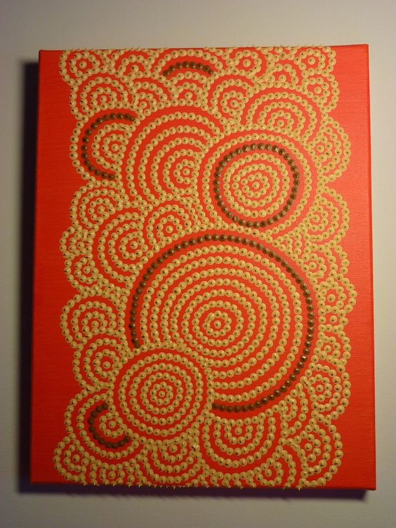 tableau cercles cr me sur fond orange vif motifs et technique d 39 inspiration aborig ne cercles. Black Bedroom Furniture Sets. Home Design Ideas