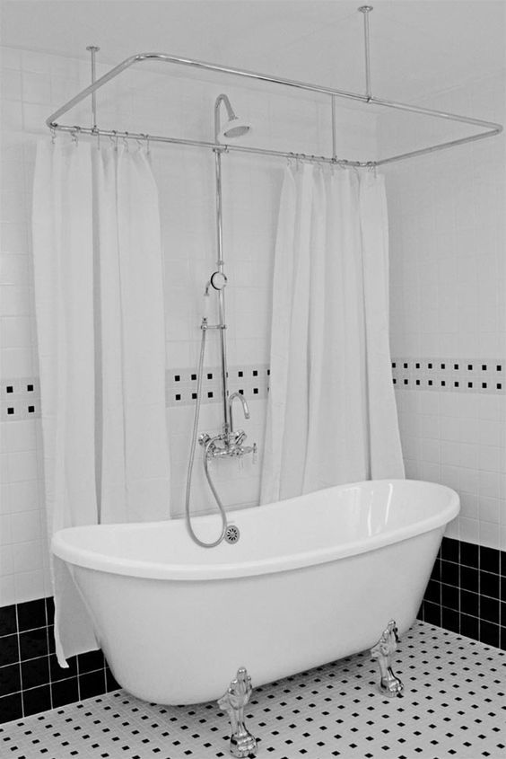 Curtain rods we and clawfoot tubs on pinterest for Clawfoot tub and shower combo