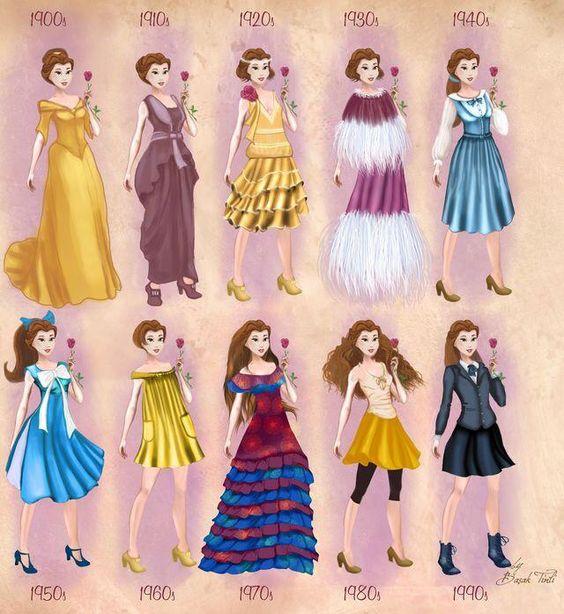 Belle's looks between 1900s to 1990s.