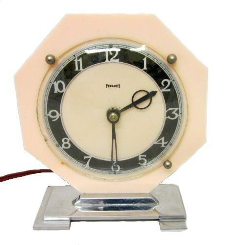 Rare Vintage 1930s Art Deco Ferranti Electric Clock Peach Bakelite Chrome Base Art Deco Clock 1930s Art Deco Deco