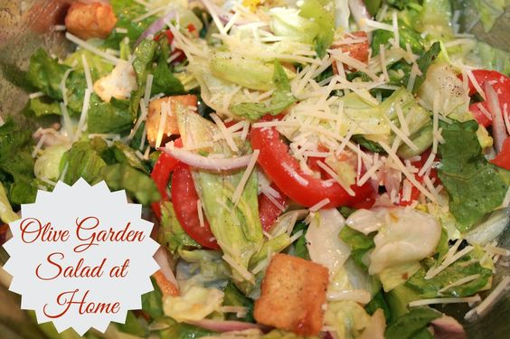 Olive Garden Salad at Home - lettuce, croutons, parmesan, red onions, tomatoes, olives and pepperoncinis: