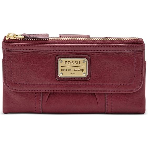 Fossil Emory Leather Clutch Wallet ($65) ❤ liked on Polyvore featuring bags, maroon, genuine leather bag, leather boho bag, boho chic bags, clutch wallet and red leather bag