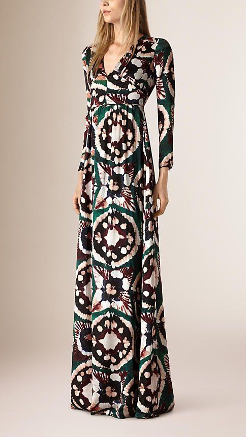 Verde garrafa intenso Vestido longo de seda com estampa tie-dye - Imagem 1