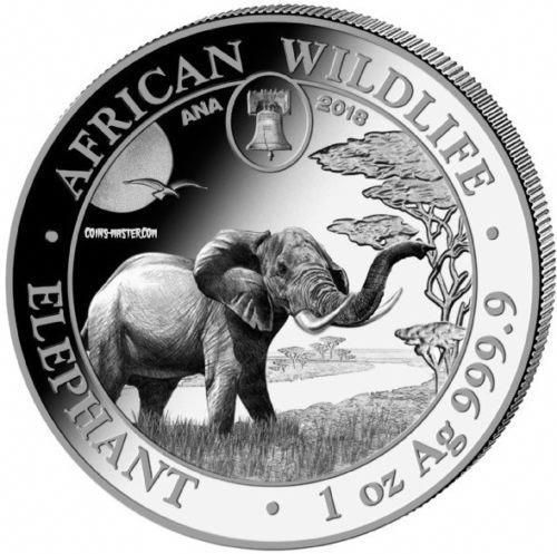 2018 1 oz Somalian Silver Elephant Coin BU