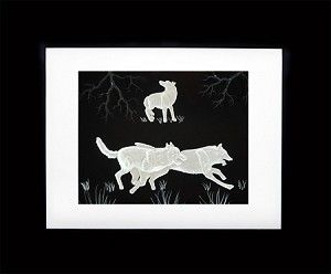 The LED lighted Frame has two running wolves and one howling at moon. Each is hand carved in an LED lighted frame.