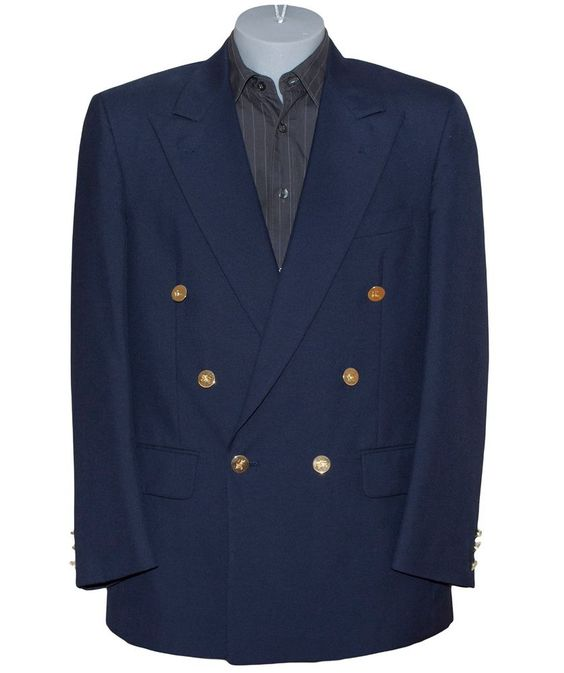 Burberry Double Breasted Gold Button Wool Navy Blazer Jacket Sport