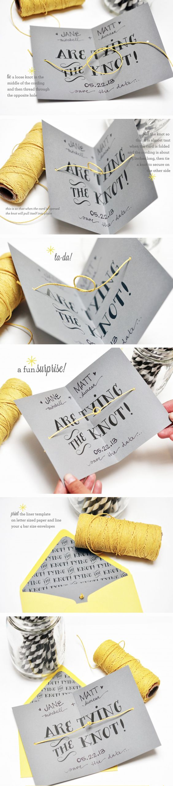 DIY tying the knot cards from Smitten on Paper