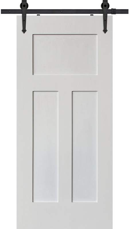 Barndoorz Paneled Manufactured Wood Primed Craftsman Barn Door Without Installation Hardware Kit Barn Door Interior Barn Doors Barn Style Doors