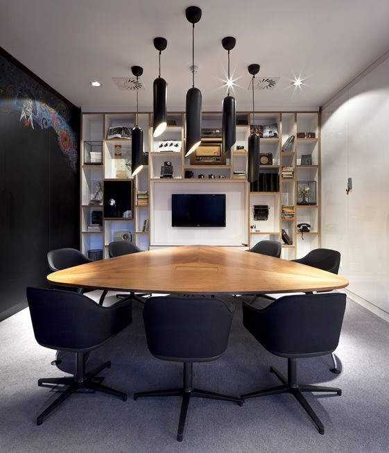 Great meeting room - white board one side, blackboard the other, designer lights in the middle!: