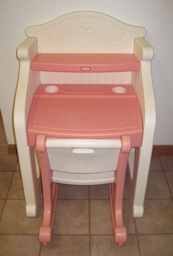 little tikes desk victorian child play size pink white vanity little tykes children play. Black Bedroom Furniture Sets. Home Design Ideas