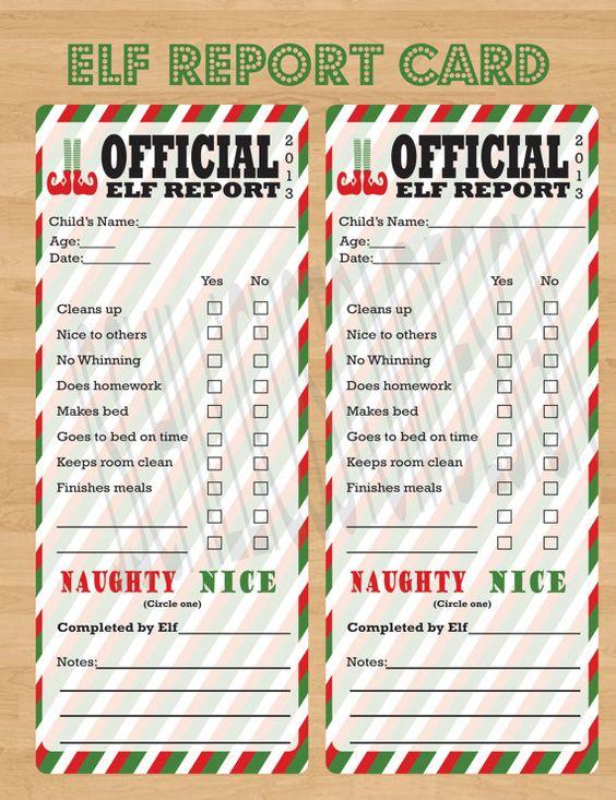 PRINTABLE elf on the shelf Report Card Christmas