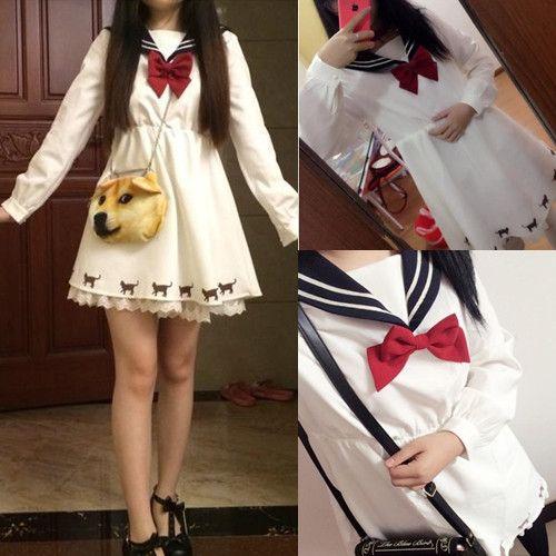 Japanese harajuku bowknot sailor dress - Thumbnail 2