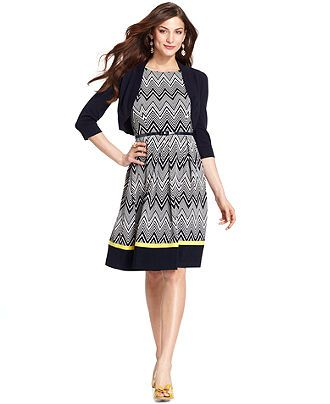 Jessica Howard Petite Dress Printed Fit &amp Flare With Cardigan ...