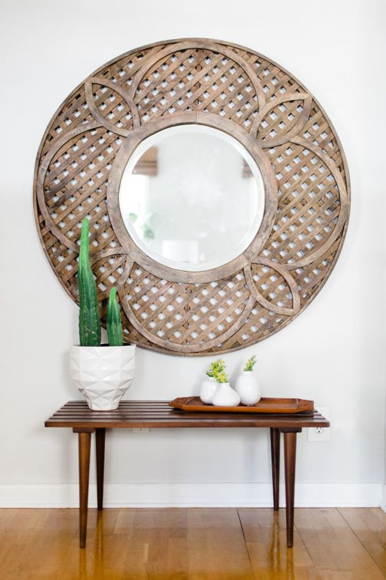 Large round mirror flower mirror and round mirrors on for Large round decorative mirror