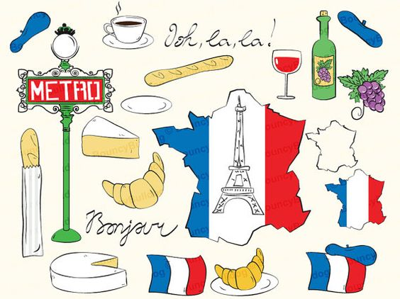 Clip Art France Clipart france clipart eiffel tower paris map french flag baguette croissant metro wine bottle grapes