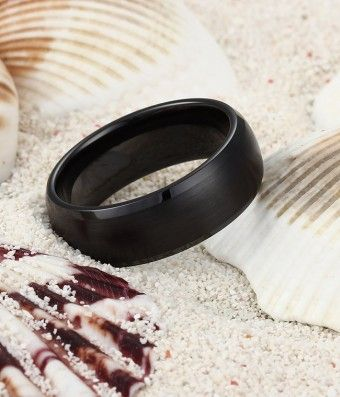 Brushed Dome Black Ceramic Ring