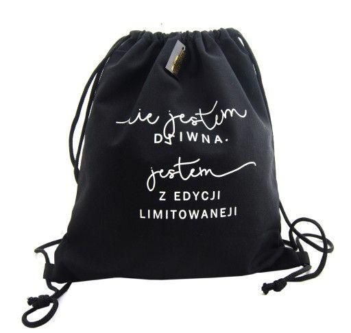 Duzy Plecak Worek Z Napisem Nadruk Czarny Damski 7181410535 Oficjalne Archiwum Allegro Drawstring Backpack Bags Backpacks