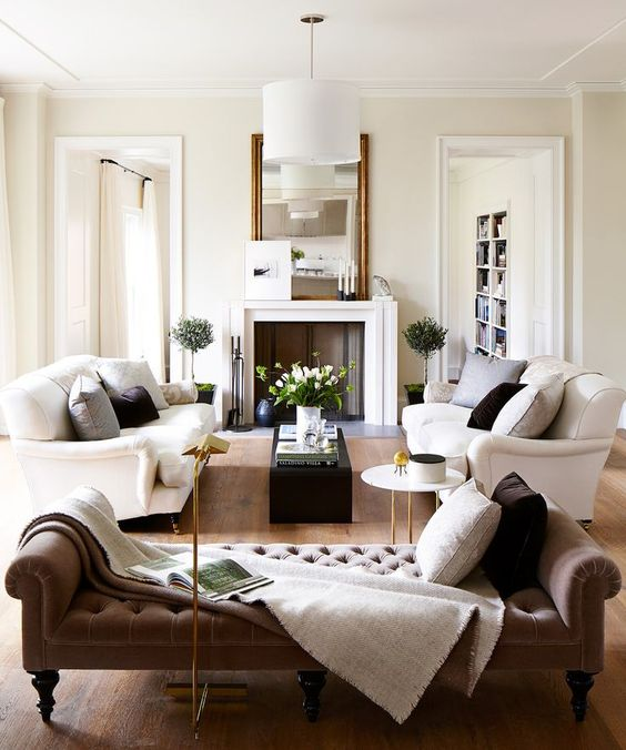 Walls in this beautiful living room with neutral decor are painted: Pointing by Farrow & Ball.  Come learn about the 12 Best Calm Paint Colors {Top Picks from Designers!} #pointing #farrowandballpointing #paintcolors