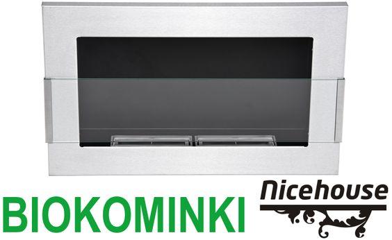 Biokominek inox 65x40 z szybą Nice-House - ZESTAW
