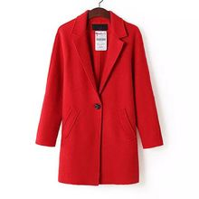 Women woolen coats new Single Button Mid long fashion loose winter coat for ladies