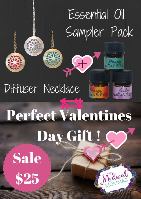 Diffuser necklaces let you diffuser oils all day in style. These nifty gift packs come with a locket necklace and a sampler pack on oils blends- Happy, Calm, and Energy.