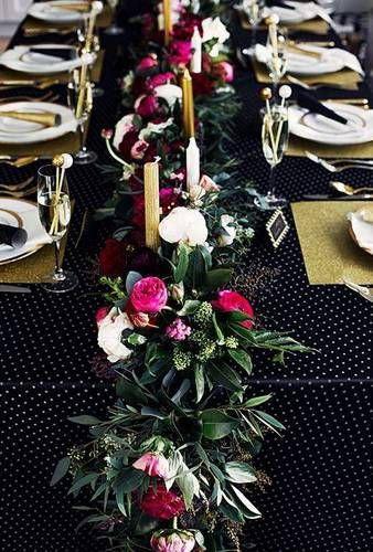 K'Mich Weddings- wedding planning - centerpiece alternative - DOMINO:34 garlands on tables that don't even want a centerpiece