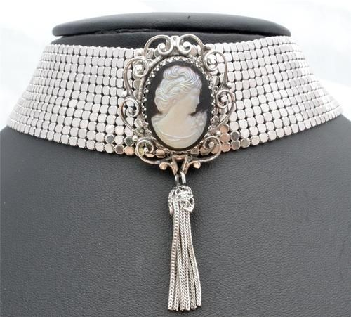 Whiting Davis Mesh Cameo Necklace Wide Choker Glass Black Cameo Tassel Signed | eBay
