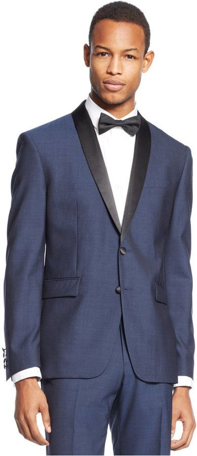 Bar III Slim-Fit Midnight Blue Shawl Collar Tuxedo Jacket | Groom