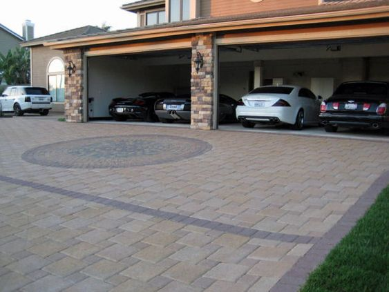 4 car garage with brick driveway bespoke brickwork garage office