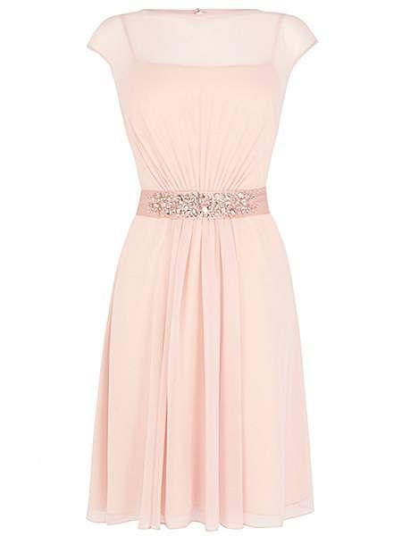 Coast Lori Lee Cap Sleeve Knee Length Dress Soft Pink