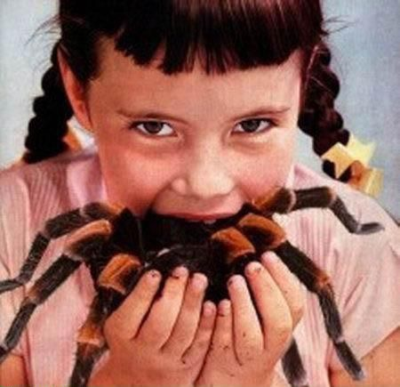 girl eating spider. perfectly normal.
