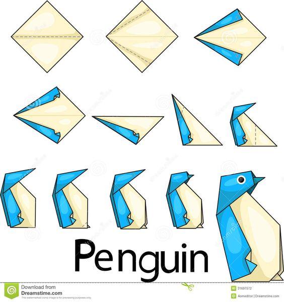 Como hacer un pinguino con la tecnica de origami - Origami con servilletas ...