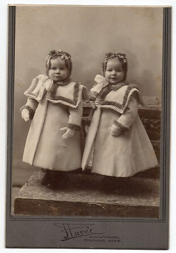 :::::::: Antique Photograph ::::::::: Adorable Twin girls in matching coats.: