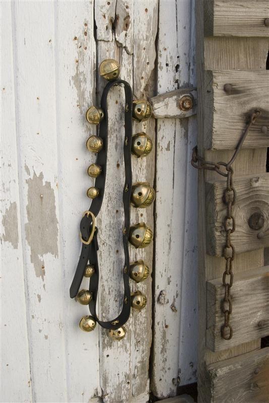 Authentic Solid Brass Sleigh Bells Door Bells Leather