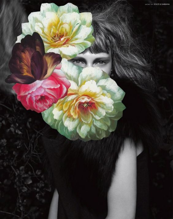 What I like the most in this editorial is the floral arrangements by famous Scottish artist Jim Lambie. Known for his colorful floors and dripping paint installations, he painted these beautiful flowers over Andreas Larsson photographs for 10 MagazineFall 2011 editorial.