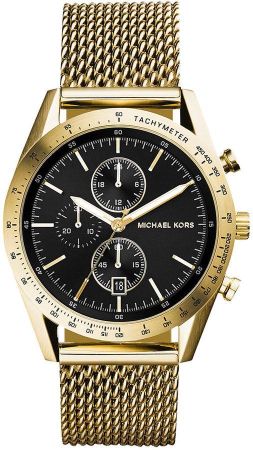 275, Gold Watch: Michael Kors Kors Chronograph Michl Accelerator Gold Tone Stainless Steel malha de relógio pulseira 42 milímetros Mk8388. Vendido por Macy. Clique para mais informações: lookastic.com / ...