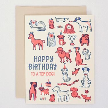 "Message: happy birthday to a top dog! no message inside Card:4.25"" x 5.5"", letterpressed Envelope: Tan"
