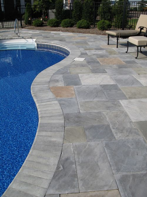Trees colors and patio on pinterest Flagstone pavers around pool
