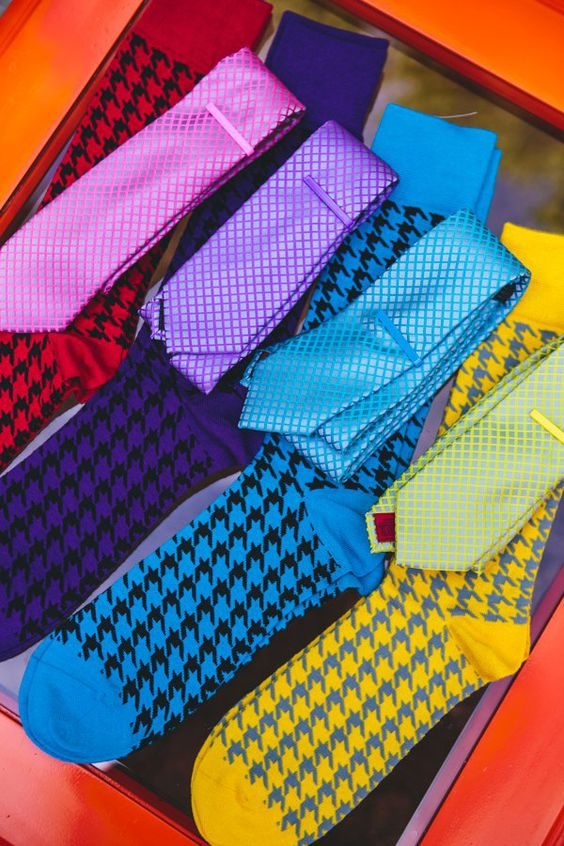 colorful matching accessories for groomsmen // photo by The Goodness // View more: http://ruffledblog.com/colorful-foresthill-wedding/